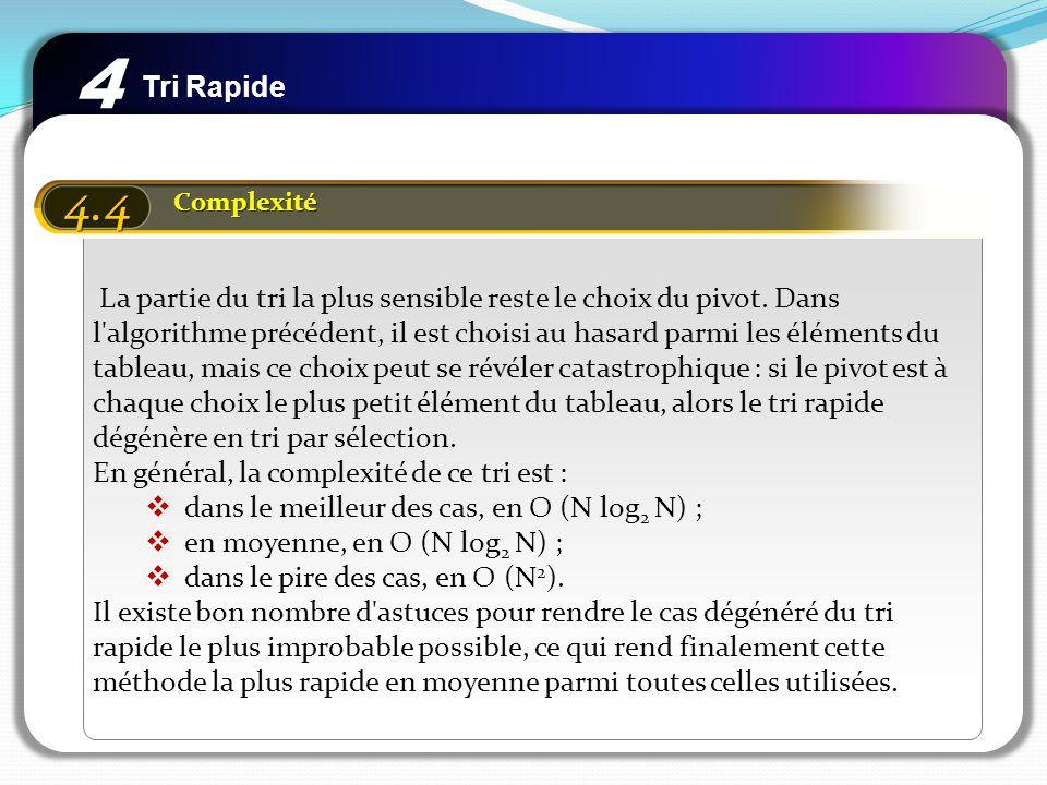 Tri Rapide 4 4.4 Complexité La partie du tri la plus sensible reste le choix du pivot. Dans l'algorithme précédent, il est choisi au hasard parmi les