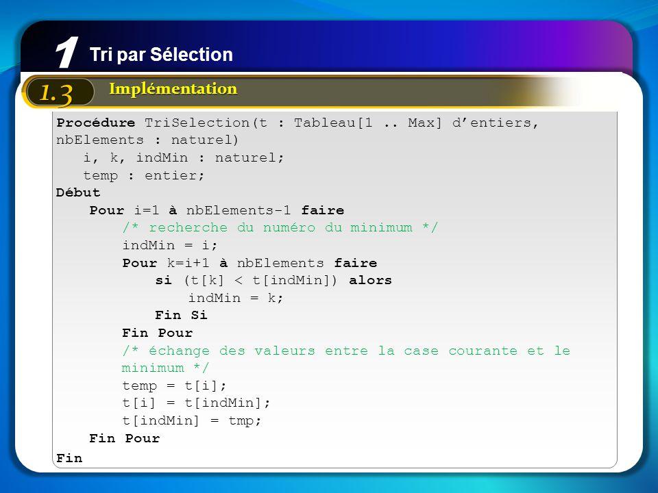 1 1.3 Implémentation Procédure TriSelection(t : Tableau[1.. Max] dentiers, nbElements : naturel) i, k, indMin : naturel; temp : entier; Début Pour i=1