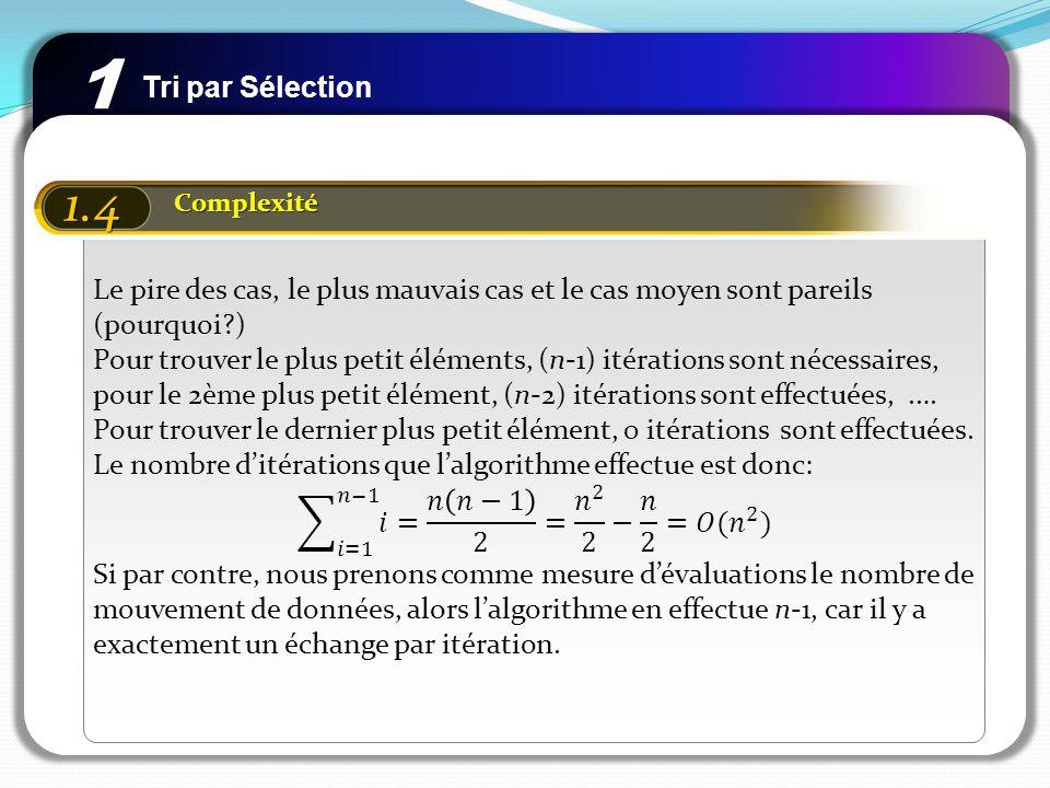 Tri par Insertion 2 2.1 Principe Insertion du prochain élément dans la partie qui est déjà triée précédemment La partie de départ qui est triée est le premier élément Il se pourrait quon a à déplacer plusieurs éléments pour linsertion i n 1 t Les i-1 premiers éléments déjà triés Les éléments non triés Eléments à insérer
