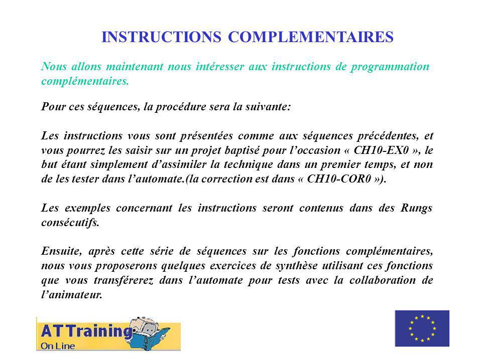 ROLE DES DIFFERENTS ELEMENTS INSTRUCTIONS COMPLEMENTAIRES Nous allons maintenant nous intéresser aux instructions de programmation complémentaires. Po