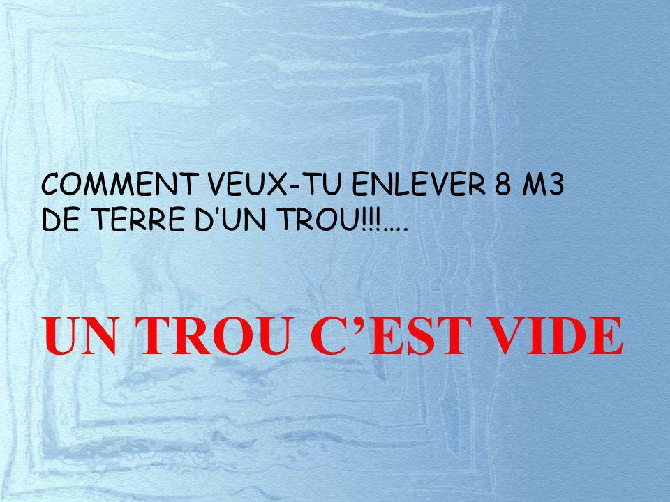 COMMENT VEUX-TU ENLEVER 8 M3 DE TERRE DUN TROU!!!…. UN TROU CEST VIDE