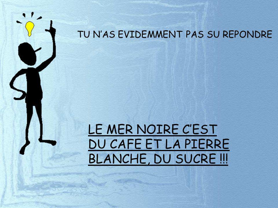 TU NAS EVIDEMMENT PAS SU REPONDRE LE MER NOIRE CEST DU CAFE ET LA PIERRE BLANCHE, DU SUCRE !!!