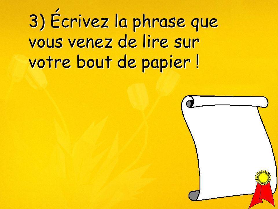 3) Écrivez la phrase que vous venez de lire sur votre bout de papier !