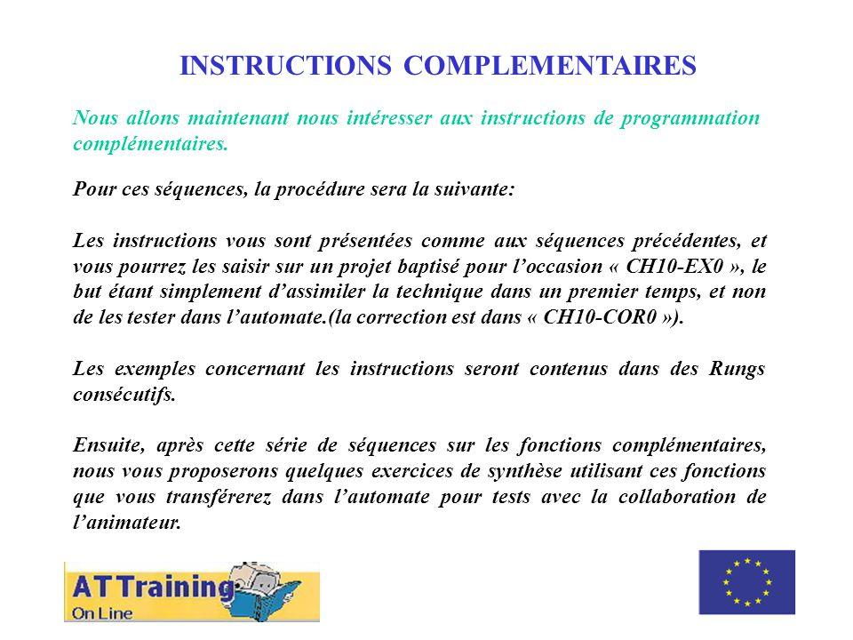 ROLE DES DIFFERENTS ELEMENTS INSTRUCTIONS COMPLEMENTAIRES Nous allons maintenant nous intéresser aux instructions de programmation complémentaires.