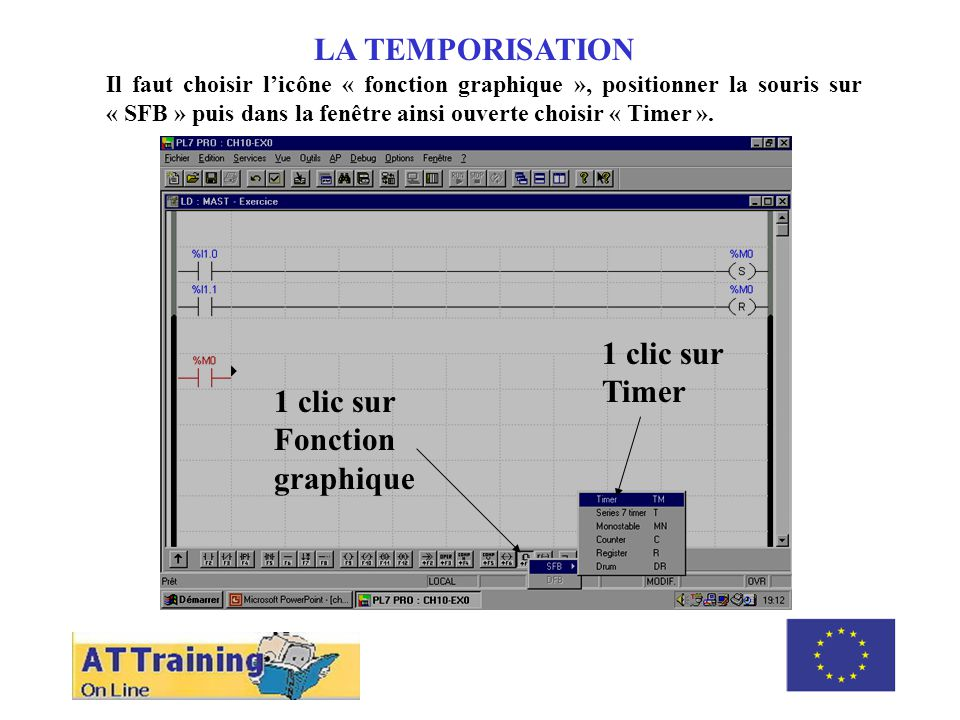 ROLE DES DIFFERENTS ELEMENTS LA TEMPORISATION Il faut choisir licône « fonction graphique », positionner la souris sur « SFB » puis dans la fenêtre ainsi ouverte choisir « Timer ».