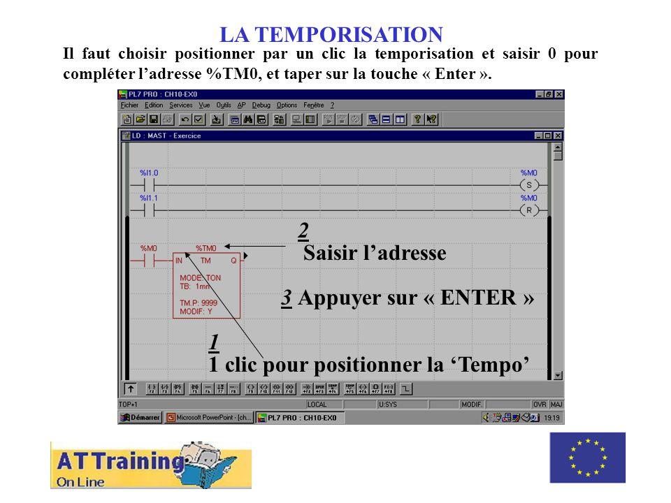 ROLE DES DIFFERENTS ELEMENTS LA TEMPORISATION Il faut choisir positionner par un clic la temporisation et saisir 0 pour compléter ladresse %TM0, et taper sur la touche « Enter ».