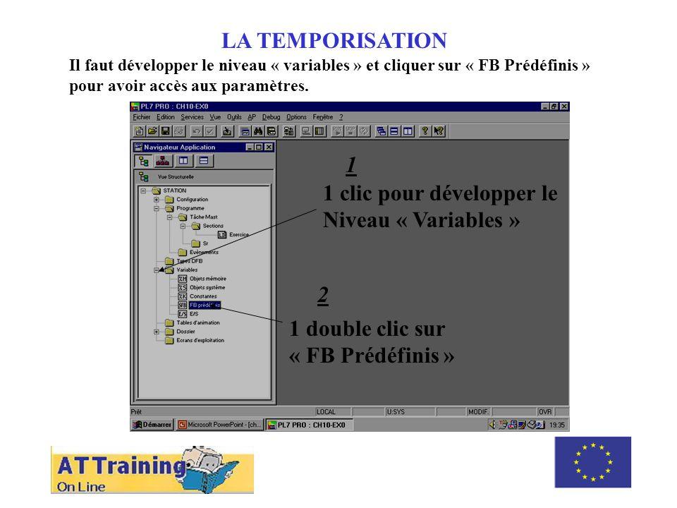 LA TEMPORISATION Il faut développer le niveau « variables » et cliquer sur « FB Prédéfinis » pour avoir accès aux paramètres.
