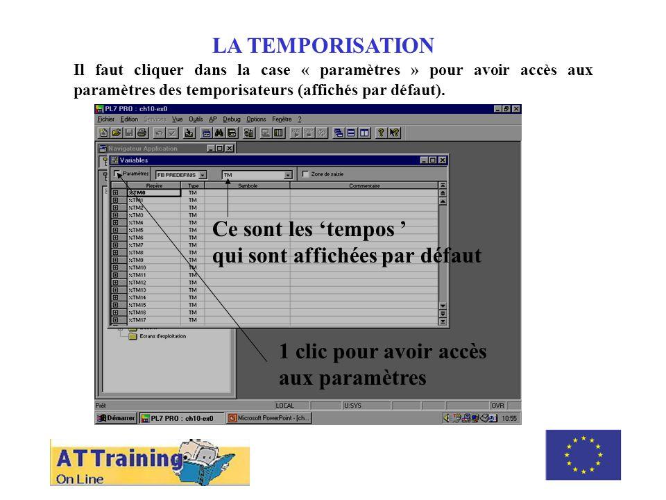 ROLE DES DIFFERENTS ELEMENTS LA TEMPORISATION Il faut cliquer dans la case « paramètres » pour avoir accès aux paramètres des temporisateurs (affichés par défaut).