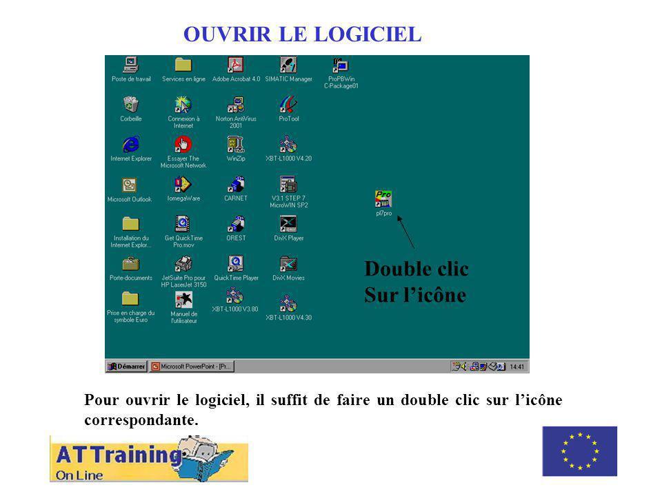 ROLE DES DIFFERENTS ELEMENTS OUVRIR LE LOGICIEL Pour ouvrir le logiciel, il suffit de faire un double clic sur licône correspondante.