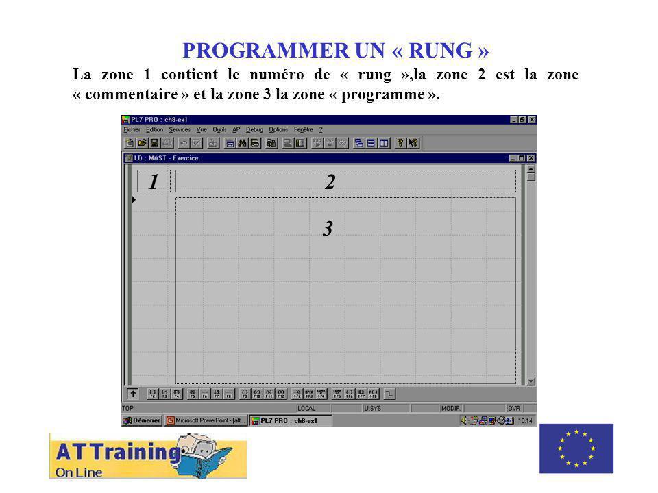 PROGRAMMER UN « RUNG » La zone 1 contient le numéro de « rung »,la zone 2 est la zone « commentaire » et la zone 3 la zone « programme ».