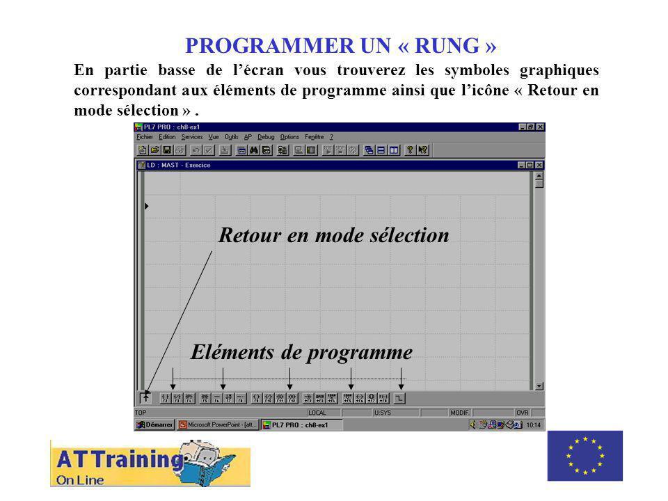 PROGRAMMER UN « RUNG » En partie basse de lécran vous trouverez les symboles graphiques correspondant aux éléments de programme ainsi que licône « Retour en mode sélection ».