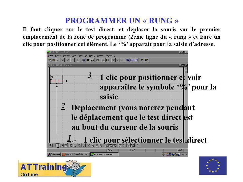ROLE DES DIFFERENTS ELEMENTS PROGRAMMER UN « RUNG » Il faut cliquer sur le test direct, et déplacer la souris sur le premier emplacement de la zone de programme (2ème ligne du « rung » et faire un clic pour positionner cet élément.
