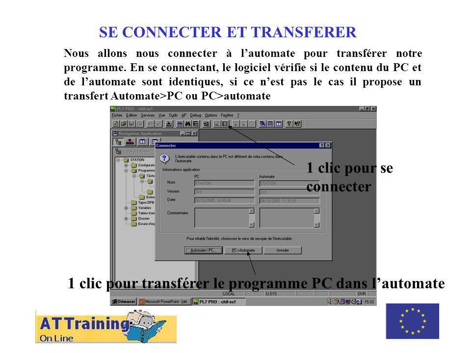 SE CONNECTER ET TRANSFERER Nous allons nous connecter à lautomate pour transférer notre programme.