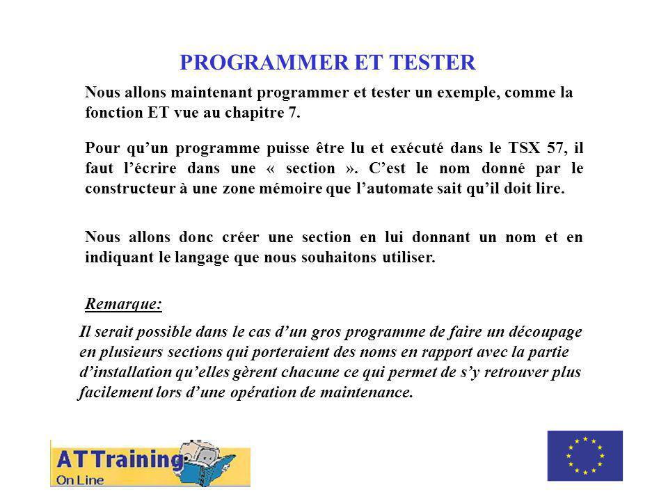 ROLE DES DIFFERENTS ELEMENTS PROGRAMMER ET TESTER Nous allons maintenant programmer et tester un exemple, comme la fonction ET vue au chapitre 7.