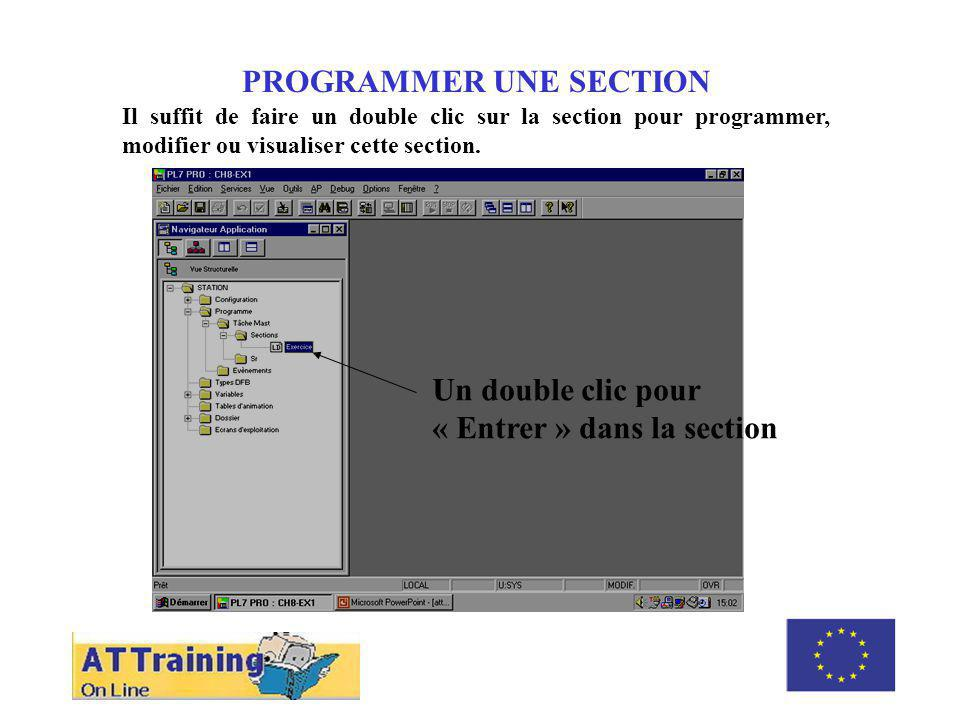 ROLE DES DIFFERENTS ELEMENTS PROGRAMMER UN « RUNG » Un programme peut se décomposer en plusieurs « sections » et chaque section est décomposée en plusieurs « rung ».