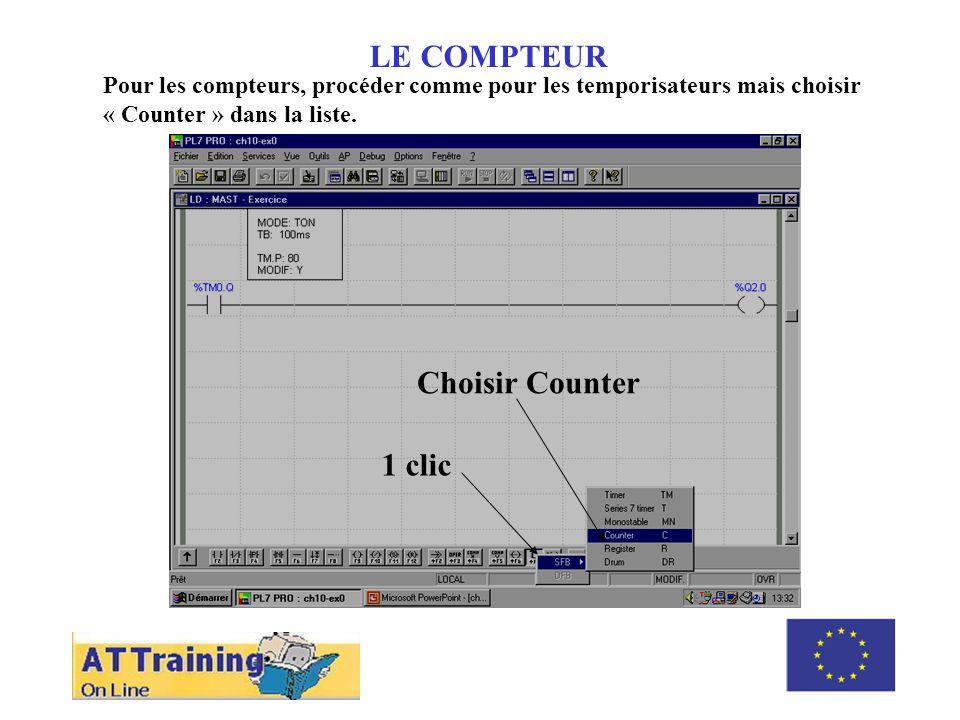 ROLE DES DIFFERENTS ELEMENTS LE COMPTEUR Cliquer pour positionner le compteur (en laissant la place pour les tests), puis saisir 0 pour compléter ladresse %C0 et appuyer sur « Enter ».