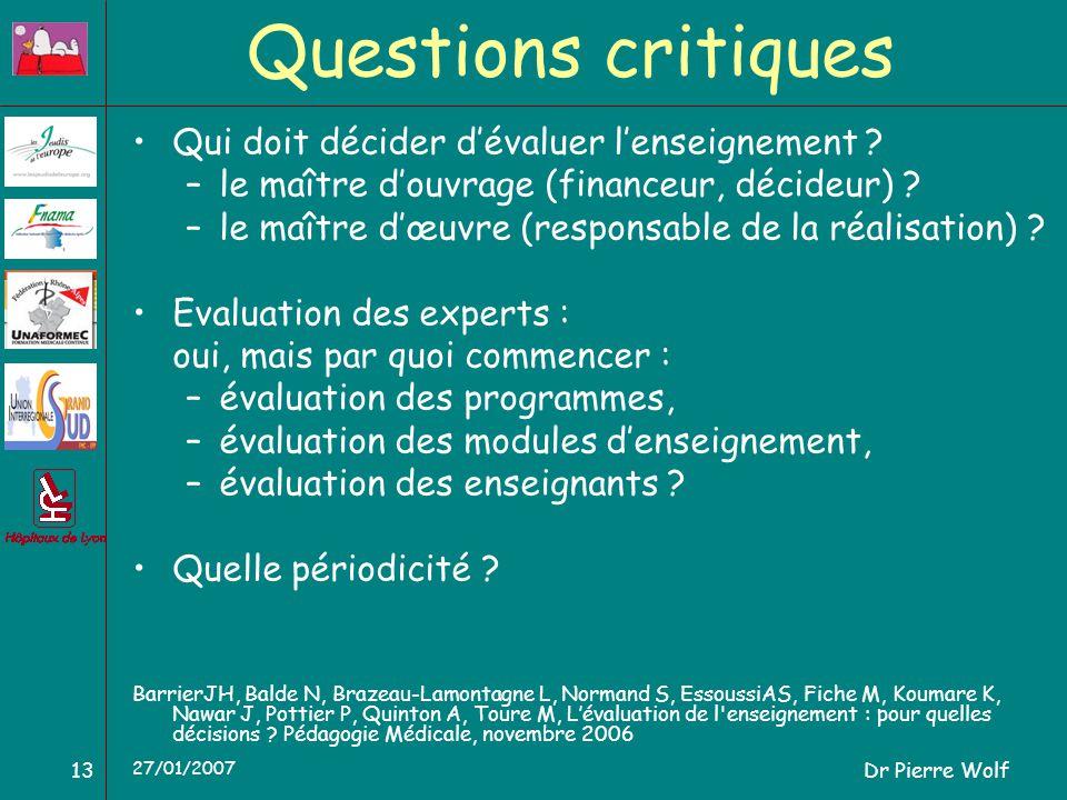 Dr Pierre Wolf13 27/01/2007 Questions critiques Qui doit décider dévaluer lenseignement ? –le maître douvrage (financeur, décideur) ? –le maître dœuvr