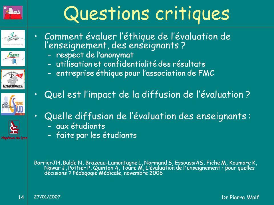 Dr Pierre Wolf14 27/01/2007 Questions critiques Comment évaluer léthique de lévaluation de lenseignement, des enseignants ? –respect de lanonymat –uti