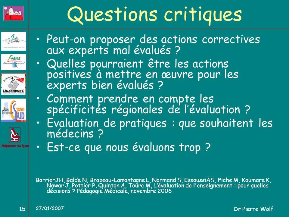Dr Pierre Wolf15 27/01/2007 Questions critiques Peut-on proposer des actions correctives aux experts mal évalués ? Quelles pourraient être les actions
