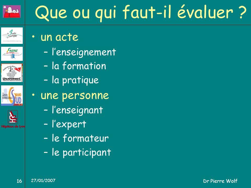 Dr Pierre Wolf16 27/01/2007 Que ou qui faut-il évaluer ? un acte –lenseignement –la formation –la pratique une personne –lenseignant –lexpert –le form