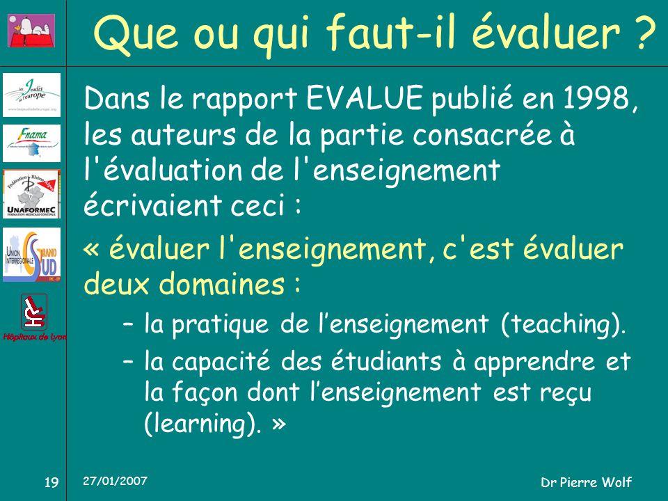 Dr Pierre Wolf19 27/01/2007 Que ou qui faut-il évaluer ? Dans le rapport EVALUE publié en 1998, les auteurs de la partie consacrée à l'évaluation de l