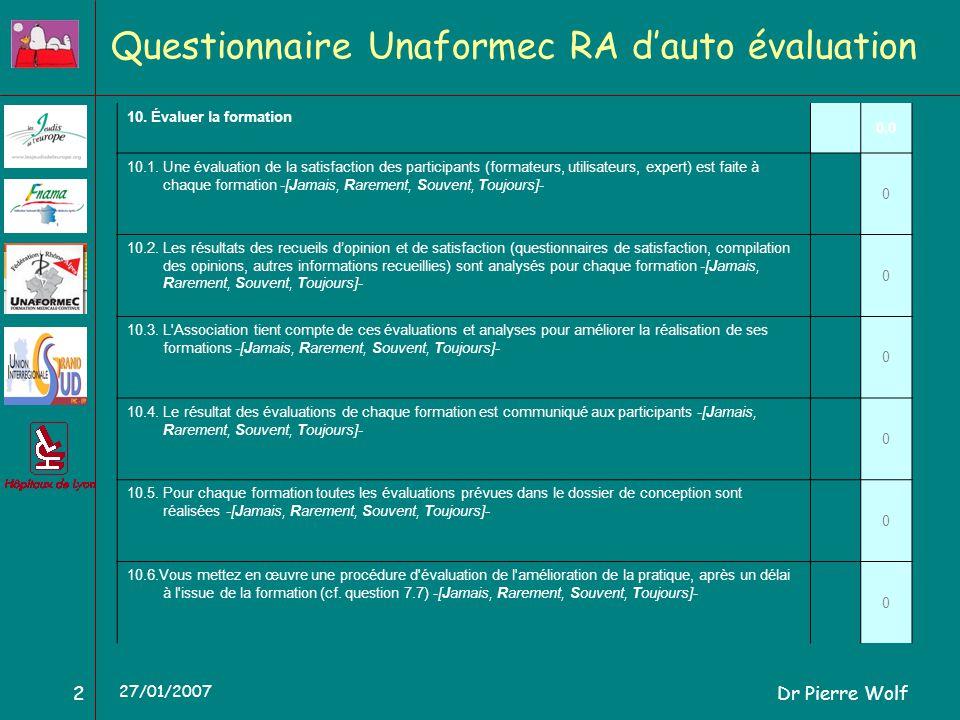 Dr Pierre Wolf2 27/01/2007 Questionnaire Unaformec RA dauto évaluation 10. Évaluer la formation 0,0 10.1. Une évaluation de la satisfaction des partic