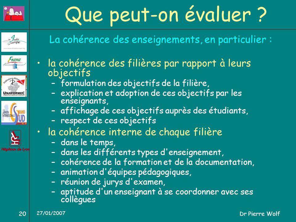 Dr Pierre Wolf20 27/01/2007 Que peut-on évaluer ? La cohérence des enseignements, en particulier : la cohérence des filières par rapport à leurs objec