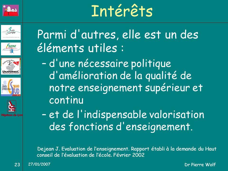 Dr Pierre Wolf23 27/01/2007 Intérêts Parmi d autres, elle est un des éléments utiles : –d une nécessaire politique d amélioration de la qualité de notre enseignement supérieur et continu –et de l indispensable valorisation des fonctions d enseignement.
