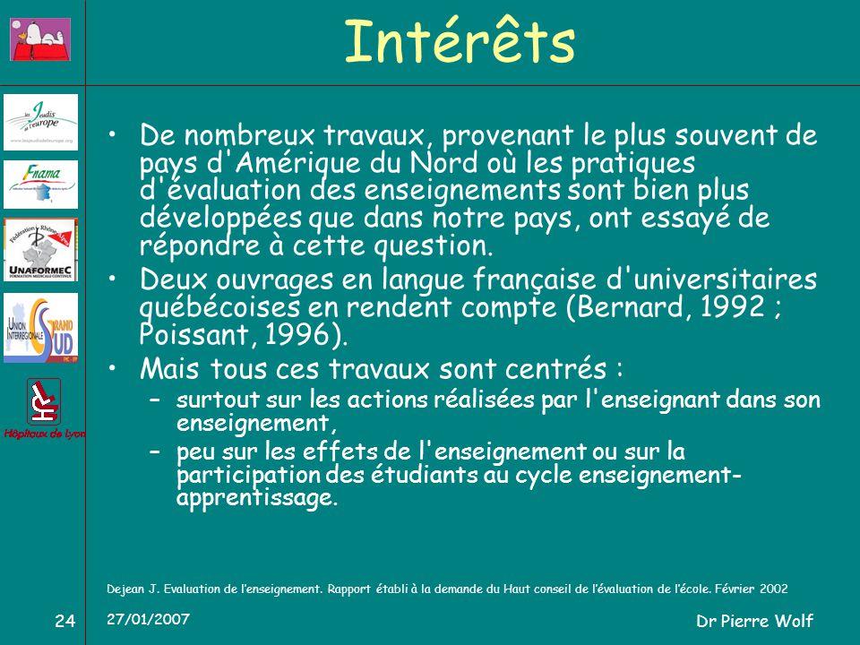 Dr Pierre Wolf24 27/01/2007 Intérêts De nombreux travaux, provenant le plus souvent de pays d Amérique du Nord où les pratiques d évaluation des enseignements sont bien plus développées que dans notre pays, ont essayé de répondre à cette question.