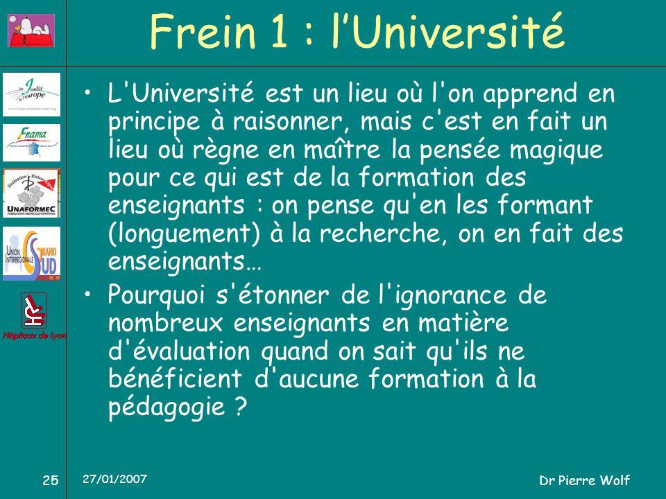 Dr Pierre Wolf25 27/01/2007 Frein 1 : lUniversité L Université est un lieu où l on apprend en principe à raisonner, mais c est en fait un lieu où règne en maître la pensée magique pour ce qui est de la formation des enseignants : on pense qu en les formant (longuement) à la recherche, on en fait des enseignants… Pourquoi s étonner de l ignorance de nombreux enseignants en matière d évaluation quand on sait qu ils ne bénéficient d aucune formation à la pédagogie ?