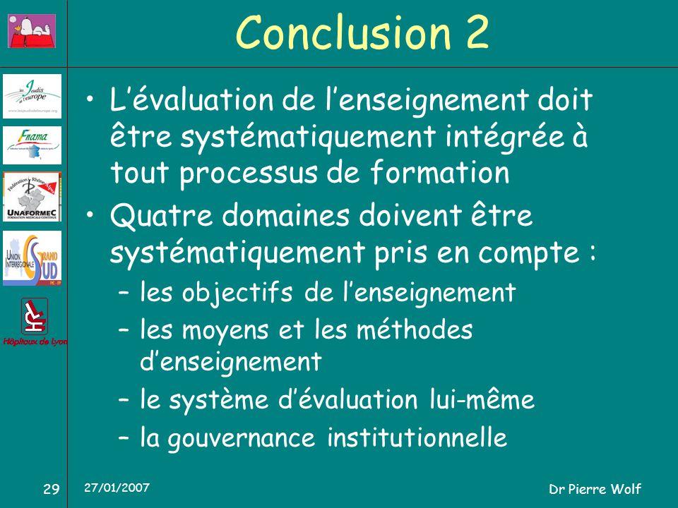 Dr Pierre Wolf29 27/01/2007 Conclusion 2 Lévaluation de lenseignement doit être systématiquement intégrée à tout processus de formation Quatre domaine