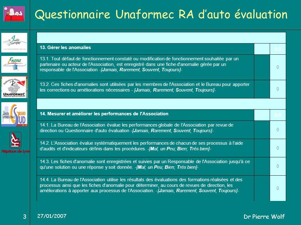 Dr Pierre Wolf3 27/01/2007 Questionnaire Unaformec RA dauto évaluation 13. Gérer les anomalies 0,0 13.1. Tout défaut de fonctionnement constaté ou mod
