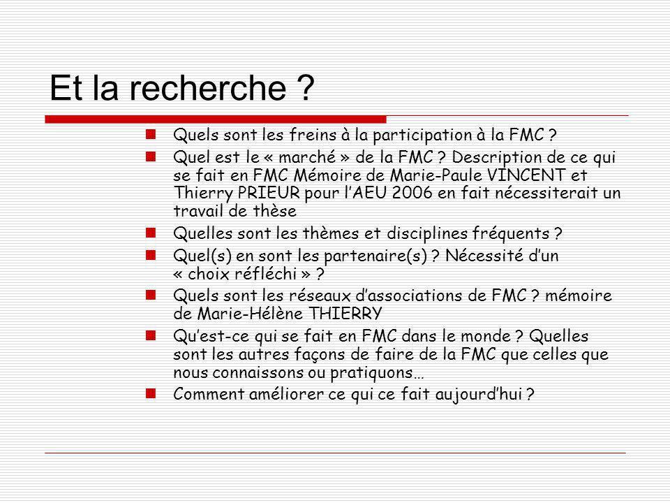 Et la recherche ? Quels sont les freins à la participation à la FMC ? Quel est le « marché » de la FMC ? Description de ce qui se fait en FMC Mémoire