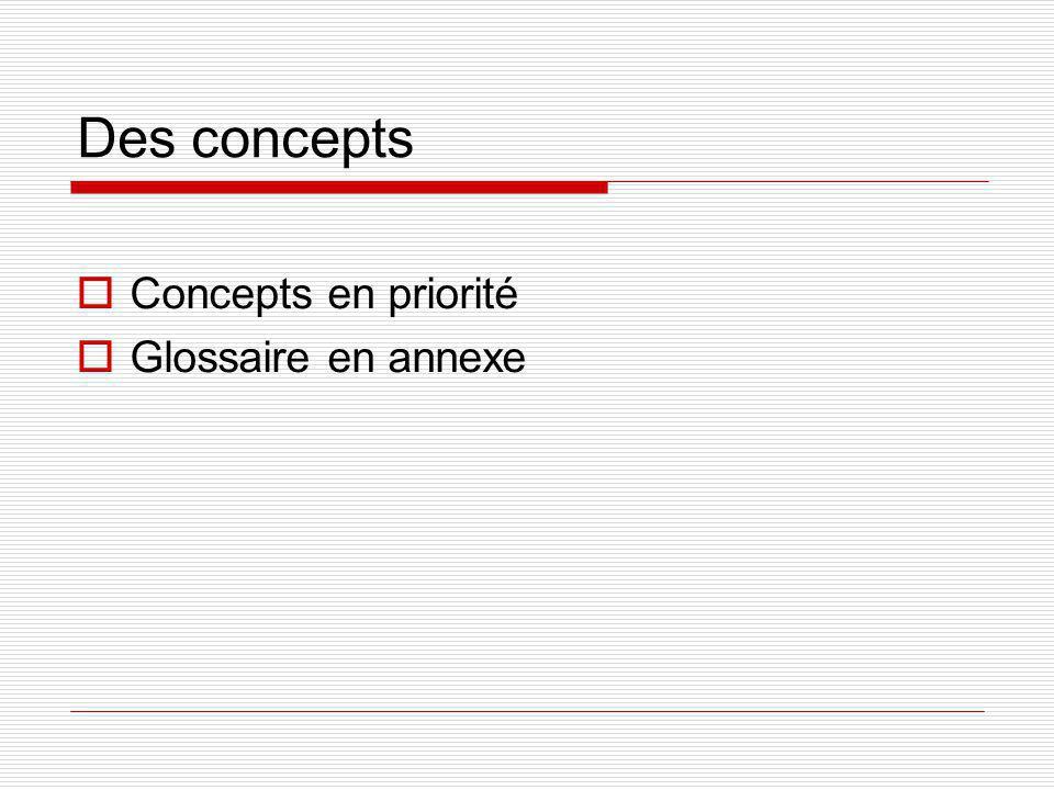 Des concepts Concepts en priorité Glossaire en annexe