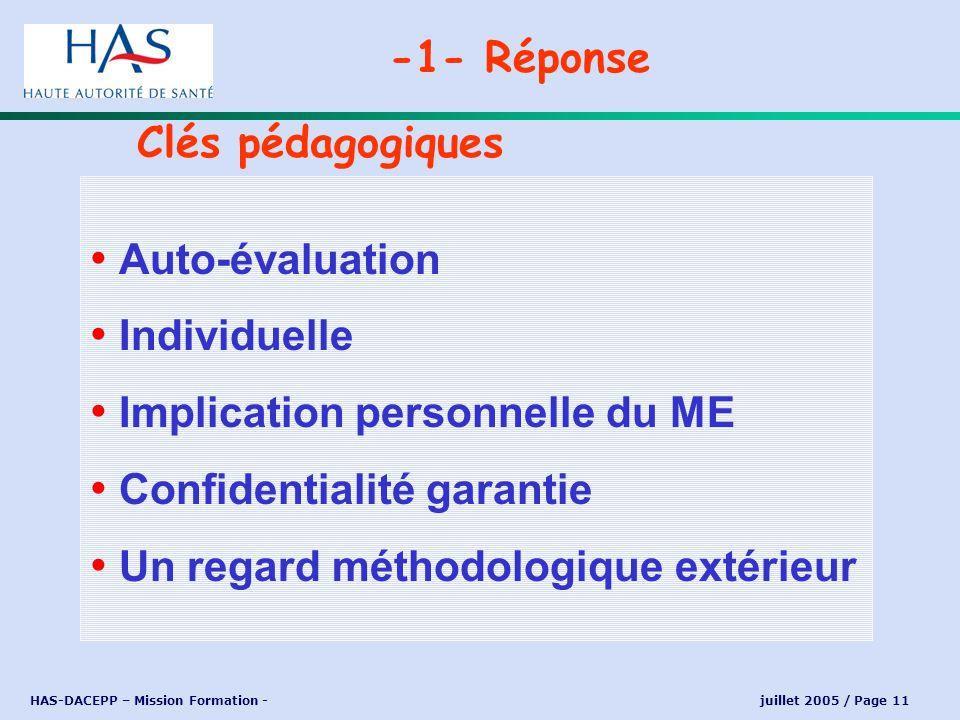 HAS-DACEPP – Mission Formation - juillet 2005 / Page 11 Auto-évaluation Individuelle Implication personnelle du ME Confidentialité garantie Un regard