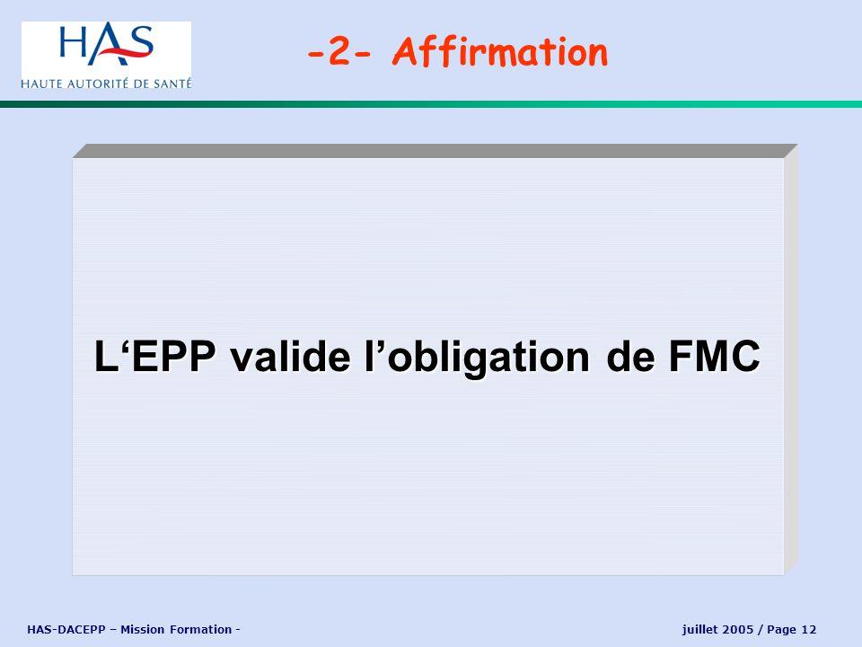 HAS-DACEPP – Mission Formation - juillet 2005 / Page 12 LEPP valide lobligation de FMC -2- Affirmation