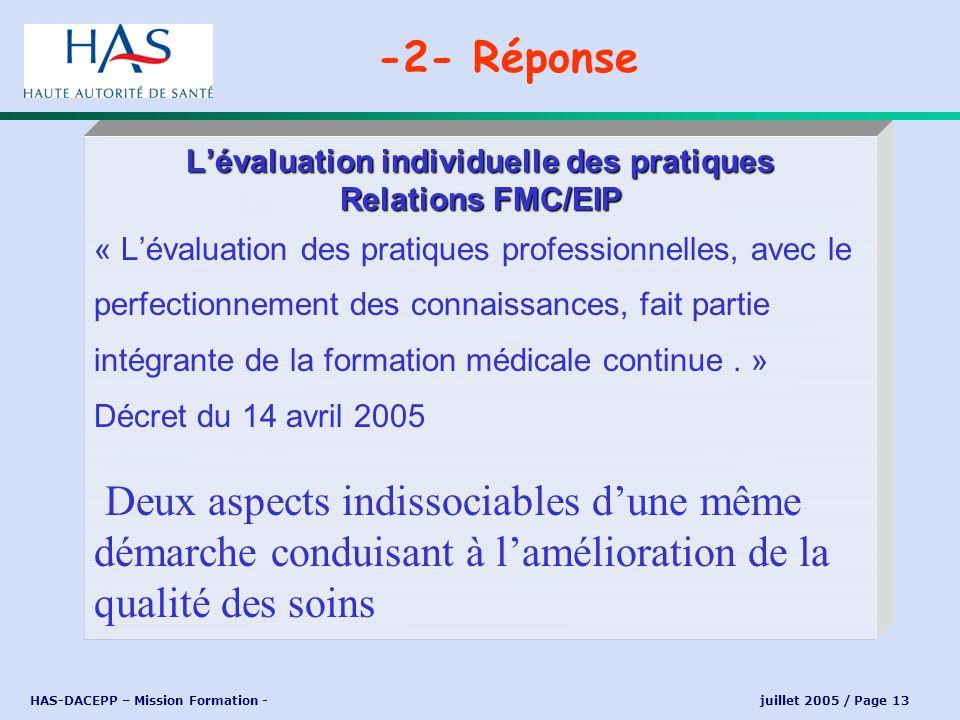 HAS-DACEPP – Mission Formation - juillet 2005 / Page 13 Lévaluation individuelle des pratiques Relations FMC/EIP « Lévaluation des pratiques professio
