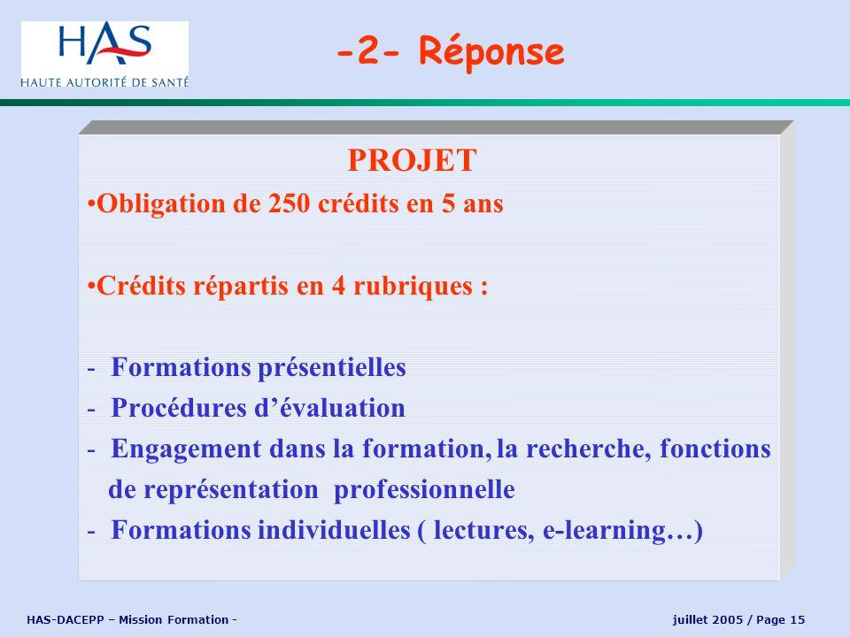 HAS-DACEPP – Mission Formation - juillet 2005 / Page 15 PROJET Obligation de 250 crédits en 5 ans Crédits répartis en 4 rubriques : - Formations prése