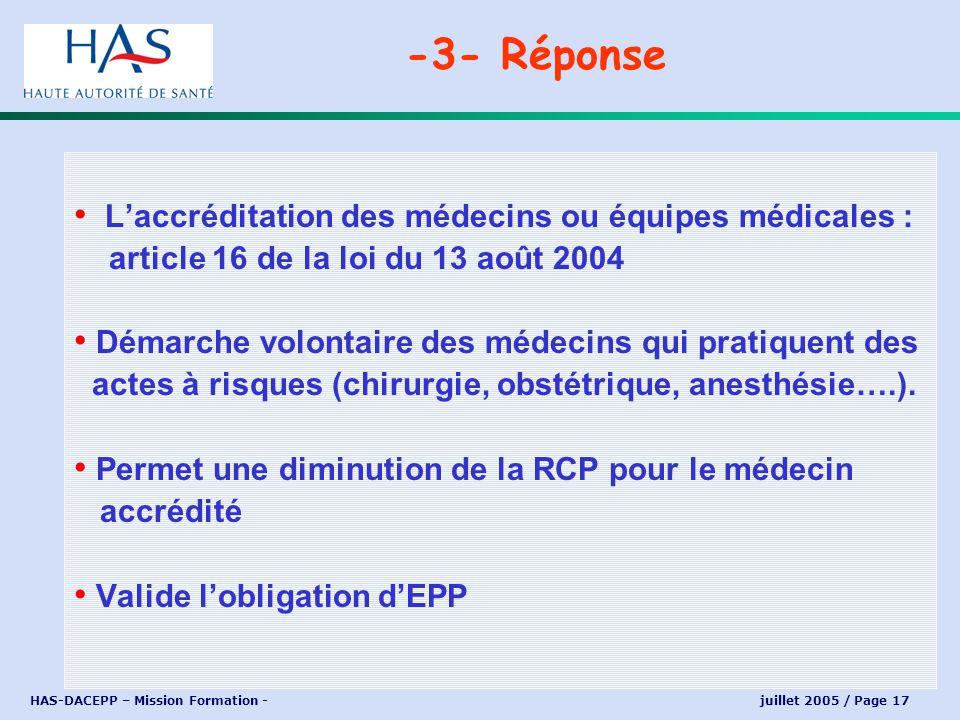 HAS-DACEPP – Mission Formation - juillet 2005 / Page 17 Laccréditation des médecins ou équipes médicales : article 16 de la loi du 13 août 2004 Démarc