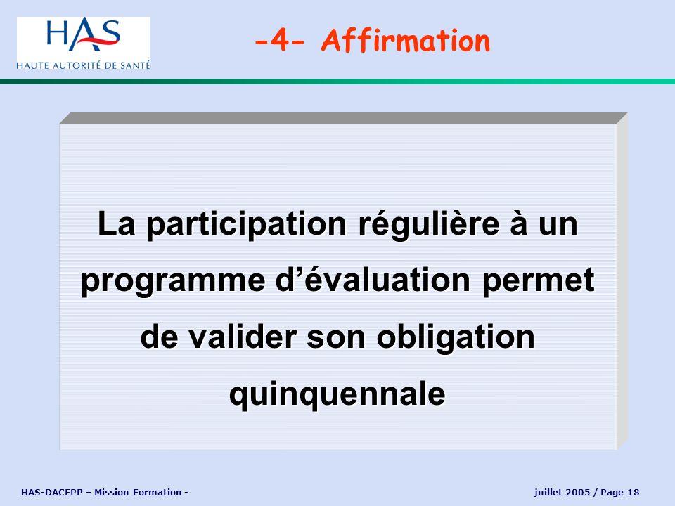 HAS-DACEPP – Mission Formation - juillet 2005 / Page 18 La participation régulière à un programme dévaluation permet de valider son obligation quinque