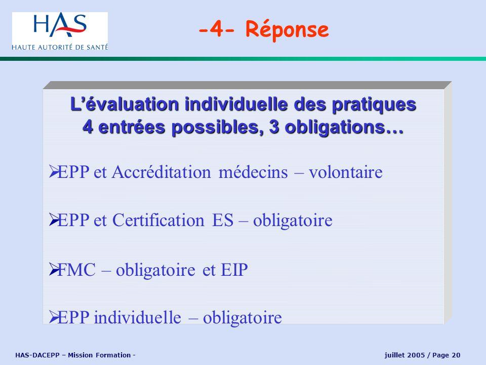 HAS-DACEPP – Mission Formation - juillet 2005 / Page 20 -4- Réponse Une démarche ponctuelle en 5 ans + Une d émarche continue sur 5 ans Validation de