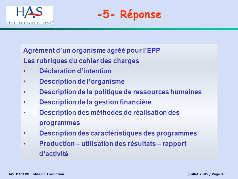 HAS-DACEPP – Mission Formation - juillet 2005 / Page 23 Agrément dun organisme agréé pour lEPP Les rubriques du cahier des charges Déclaration dintent