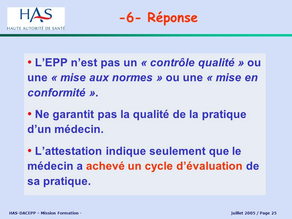 HAS-DACEPP – Mission Formation - juillet 2005 / Page 25 LEPP nest pas un « contrôle qualité » ou une « mise aux normes » ou une « mise en conformité »