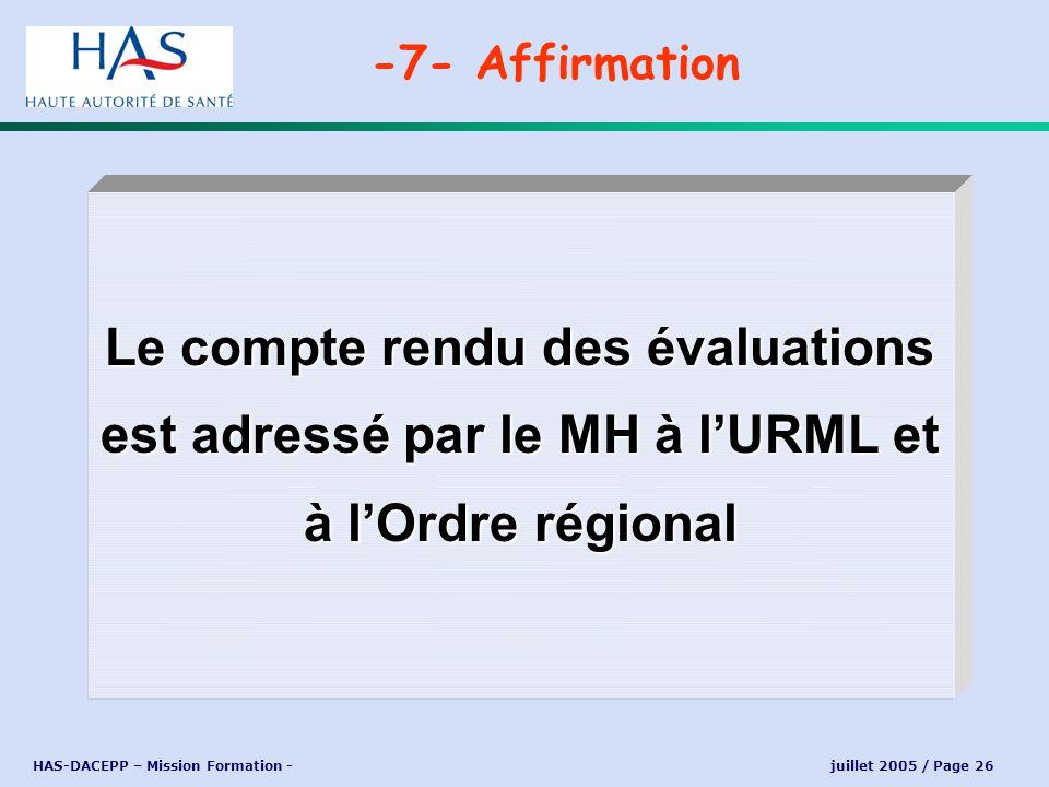 HAS-DACEPP – Mission Formation - juillet 2005 / Page 26 Le compte rendu des évaluations est adressé par le MH à lURML et à lOrdre régional -7- Affirma