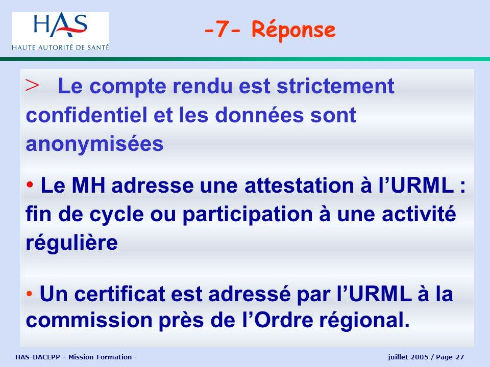 HAS-DACEPP – Mission Formation - juillet 2005 / Page 27 > Le compte rendu est strictement confidentiel et les données sont anonymisées Le MH adresse u