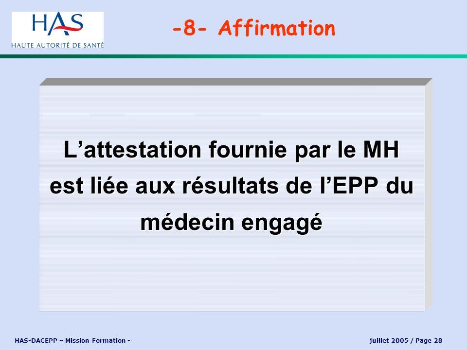 HAS-DACEPP – Mission Formation - juillet 2005 / Page 28 Lattestation fournie par le MH est liée aux résultats de lEPP du médecin engagé -8- Affirmatio