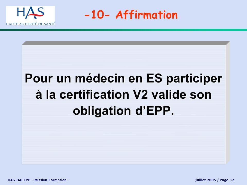 HAS-DACEPP – Mission Formation - juillet 2005 / Page 32 Pour un médecin en ES participer à la certification V2 valide son obligation dEPP. -10- Affirm