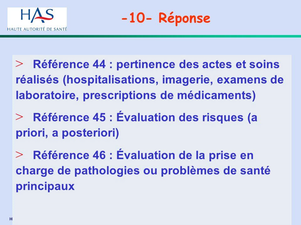 HAS-DACEPP – Mission Formation - juillet 2005 / Page 35 > Référence 44 : pertinence des actes et soins réalisés (hospitalisations, imagerie, examens d