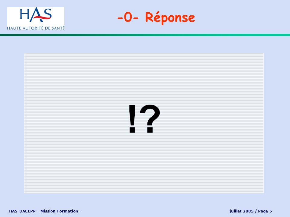 HAS-DACEPP – Mission Formation - juillet 2005 / Page 16 Laccréditation des médecins est une démarche obligatoire.