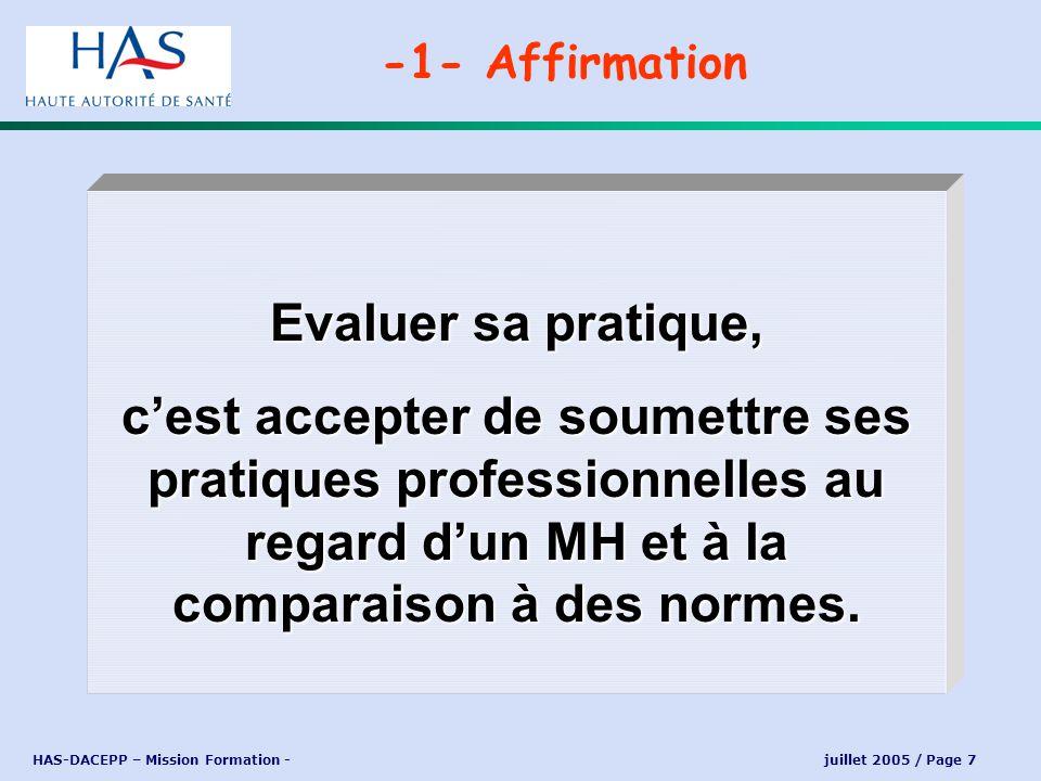 HAS-DACEPP – Mission Formation - juillet 2005 / Page 8 « Elle consiste en lanalyse de la pratique professionnelle en référence à des recommandations et selon une méthode élaborée ou validée par la HAS et inclut la mise en œuvre et le suivi dactions damélioration des pratiques » -1- Réponse